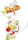 Beautiful woman with fruit Royalty Free Stock Photography