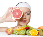 The beautiful woman with fruit Stock Photo
