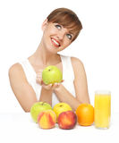 Beautiful woman with fruit and juice stock images