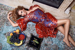 Beautiful woman fruit makeup sleep home girl sexy body Stock Photography