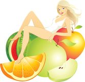 Beautiful woman with fruits. Blonde beautiful woman with fruits Vector Illustration
