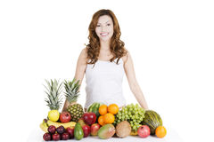 Beautiful woman with fruits Stock Photography