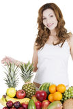 Beautiful woman with fruits Royalty Free Stock Image