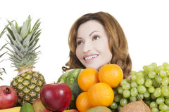 Beautiful woman with fruits Stock Image