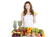Beautiful woman with fruits Stock Photo
