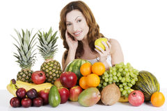 Beautiful woman with fruits Royalty Free Stock Photo