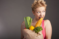 Beautiful woman with  fruits and vegetables Royalty Free Stock Photos
