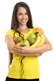 Beautiful woman with fruits Stock Images