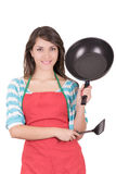 Beautiful woman with frying pan isolated on white Stock Photography