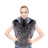 Beautiful woman in fur Stock Photos