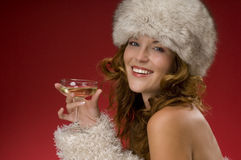 Beautiful woman with fur Royalty Free Stock Images