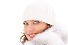 Beautiful woman in the fur coat Royalty Free Stock Images