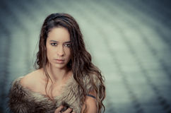 Beautiful woman in a fur coat. This image has attached release Royalty Free Stock Photo