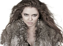 Beautiful woman in fur coat, fashion lady, Royalty Free Stock Image
