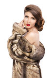 Beautiful woman in fur coat Royalty Free Stock Photos