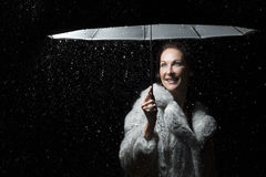 Beautiful woman with fur coat standing in rain under an umbrella Royalty Free Stock Photo