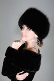 Beautiful woman in fur hat Royalty Free Stock Image