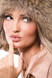 Beautiful woman in fur hat Royalty Free Stock Images