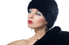 Woman in Fur Hat. Beautiful Woman in Fur Hat and Coat Royalty Free Stock Photo