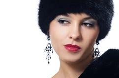 Woman in Fur Hat. Beautiful Woman in Fur Hat and Coat Stock Image