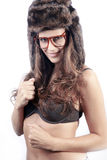 Beautiful woman with fur hat and glasses Stock Photo