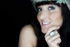 Beautiful woman with fur hat Stock Images