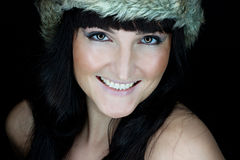 Beautiful woman with fur hat Stock Photo