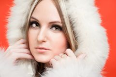 Beautiful woman in fur hood Stock Photography