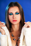 Beautiful woman in fur professional make up cosmetic fashion gla Royalty Free Stock Image