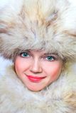 Beautiful woman in furs. Portrait royalty free stock image