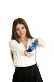 Beautiful woman with gamepad. Portrait of beautiful woman with gamepad on white background Royalty Free Stock Photography