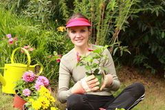 Beautiful woman gardener Stock Images