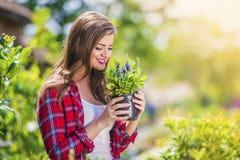 Beautiful woman gardening Stock Photography