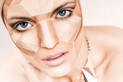 Beautiful woman with geometrical bodyart on face Royalty Free Stock Image