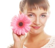 Beautiful woman with gerber flower royalty free stock photos