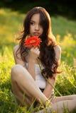 Beautiful Woman With Gerbera Flower Enjoying Nature. Royalty Free Stock Photos
