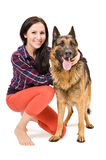 Beautiful woman and German Shepherd Stock Photo