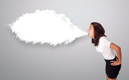 Beautiful woman gesturing with abstract cloud copy space Royalty Free Stock Photo