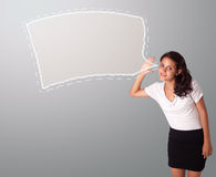 Beautiful woman gesturing with abstract speech bubble copy space Royalty Free Stock Image