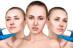 Beautiful woman gets beauty facial injections. Collage of three perfect faces isolated on white Royalty Free Stock Photography