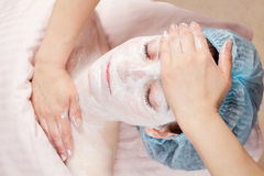 Beautiful woman getting face beauty treatment Royalty Free Stock Photo