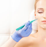 Beautiful woman getting face lifting operation Stock Images