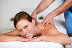 Beautiful woman getting a massage Royalty Free Stock Photo