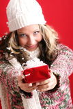 Beautiful woman with a gift Royalty Free Stock Photos