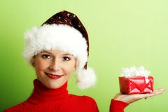 Beautiful woman with a gift Royalty Free Stock Image
