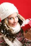 Beautiful woman with a gift Stock Photos