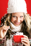 Beautiful woman with a gift Stock Photo