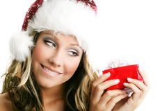Beautiful woman with a gift Royalty Free Stock Photo