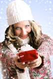 Beautiful woman with a gift Stock Images