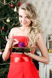 Beautiful woman with gift box. Portrait of the Beautiful woman with gift box at the Christmas tree Royalty Free Stock Image